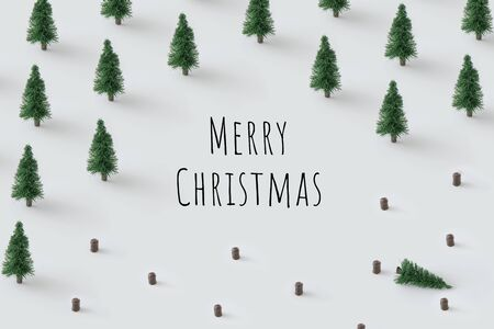 Creative Christmas tree pattern with bright background. Minimal winter flat lay holiday concept. Merry Christmas Standard-Bild - 135493061