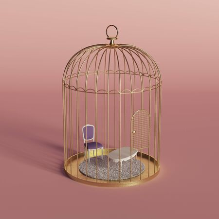 Creative minimal concept with golden bird cage and home furniture. Stay at home idea. Coronavirus or Covid-19 background. 3D Render. Imagens
