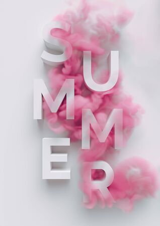 Abstract pastel pink color paint with pastel blue background. SUMMER season text Fluid creative concept composition with copy space. Minimal natural luxury.