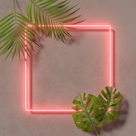 Creative fluorescent color layout made of tropical leaves. Flat lay neon colors. Nature concept. Wall texture summer background. 3D render. Imagens