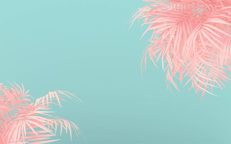 Creative fluorescent color layout made of pink tropical leaves. Flat lay pastel neon colors. Nature concept.  Minimal summer background. Imagens