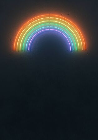 Creative fluorescent color rainbow layout made of neon tubes. Flat lay neon colors. Summer concept. Wall texture dark minimal background.