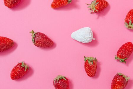Strawberries against pastel pink background with one painted white. Minimal summer fruit concept.
