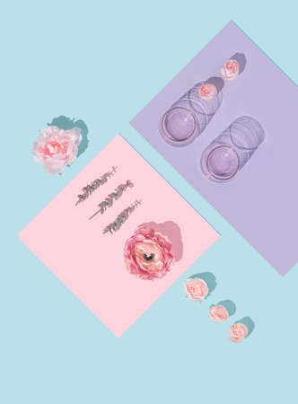 Creative natural minimal flat lay layout with flowers and glasses. Mother's day concept background design. 版權商用圖片