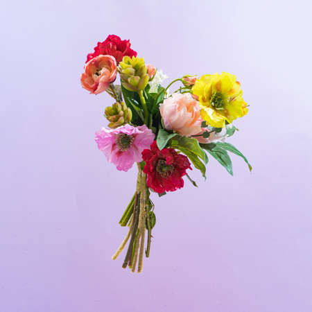 Colorful flower bouquet. Minimal modern creative Valentines or woman's day concept. Retro style new vintage. 版權商用圖片