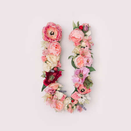 Letter U made of real natural flowers and leaves. Flower font concept. Unique collection of letters and numbers. Spring, summer and valentines creative idea.