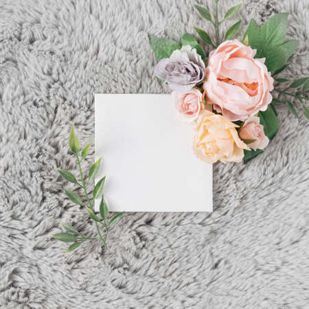 Fur background with Spring or Summer flowers. Minimal nature love concept. Mother's day Or Valentines idea.
