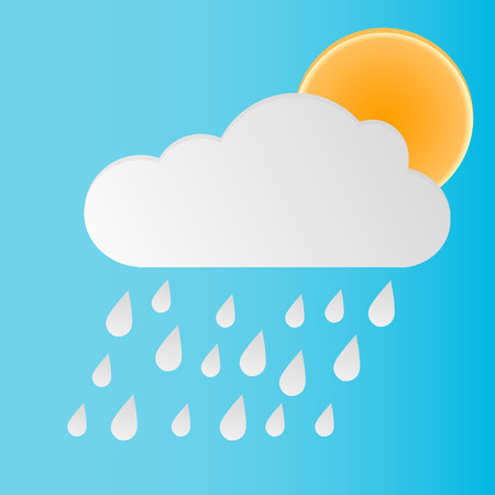 forecasting: Rain cloud sun icon. Vector icons for weather forecasting.