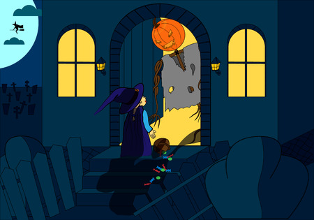nightmarish: Halloween Illustration. Frightened girl in witch costume and jack-o-Lantern. The dark night, the full moon, graveyard. background. Illustration
