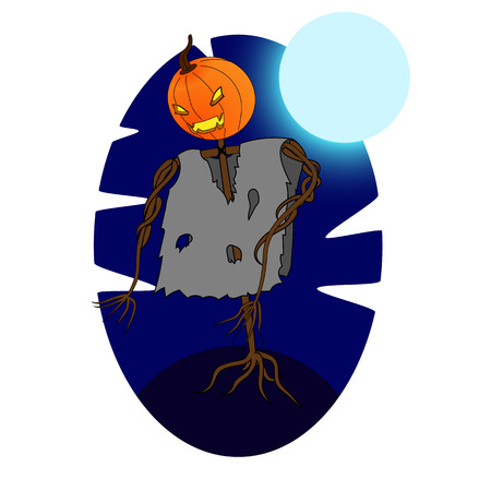 nightmarish: Halloween illustration. Jack-o-Lantern on a dark night background with the full moon. background. Illustration