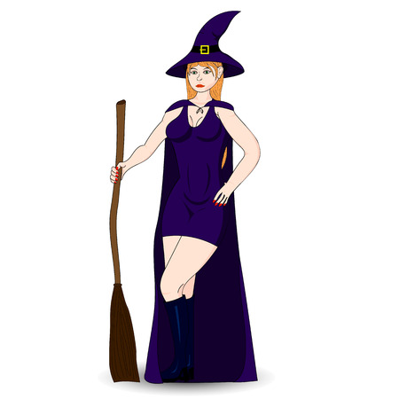 sexy halloween: Halloween Costume sexy witch. Isolated character. Illustration