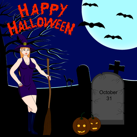 sexy halloween: Halloween dark background. Sexy witch. Tombstones in the cemetery in the night sky and a full moon. Jack-o-Lantern.