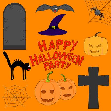 Set of Halloween accessories. Jack-o-Lantern, a gravestone, cross, web, spider, black cat, bat, pumpkin, hat.