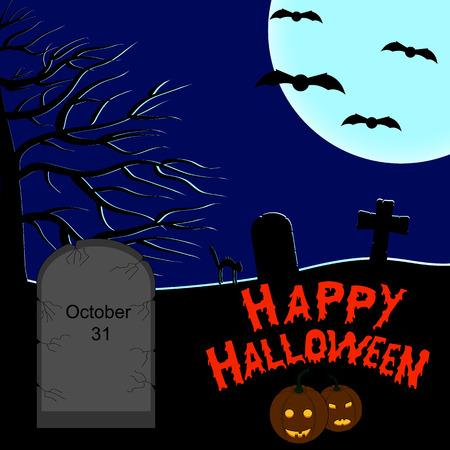 tombstones: Halloween dark background. Tombstones in the cemetery in the night sky and a full moon. Jack-o-Lantern.
