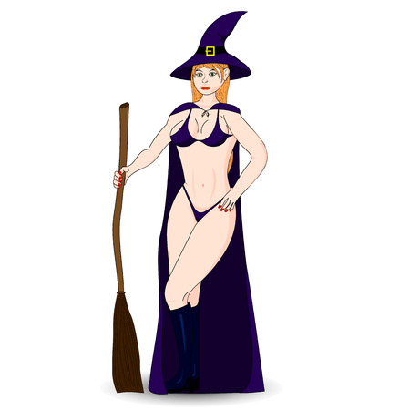 sexy witch: Halloween Costume sexy witch. Isolated character. Illustration
