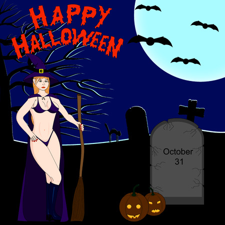 sexy witch: Halloween dark background. Sexy witch. Tombstones in the cemetery in the night sky and a full moon. Jack-o-Lantern.