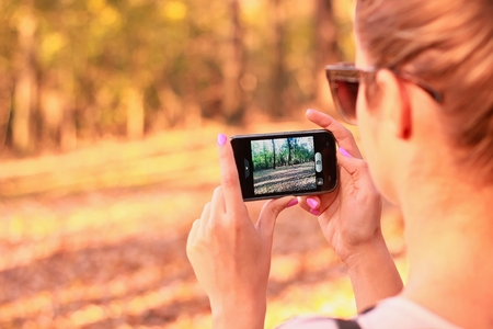Mobile camera take photo in nature photo