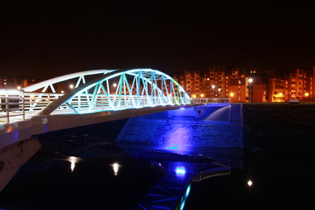 Illuminated bridge photo