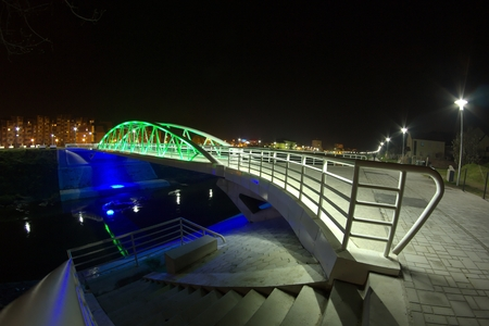 illuminated: Illuminated bridge Stock Photo