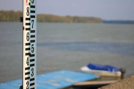 depth measurement: Water meter Stock Photo