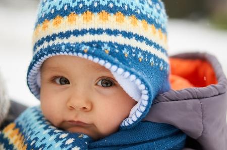 Winter portrait of cute baby.