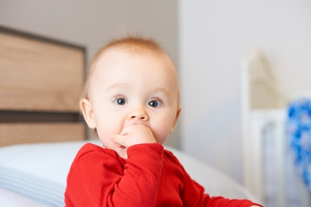 Portrait of cute baby. Stock Photo