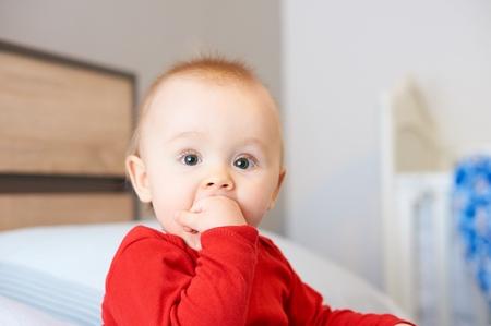 slobber: Portrait of cute baby. Stock Photo