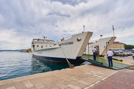 Ferry Peljescanka in port Makarska. Photo taken in July 02, 2017 in Makarska.