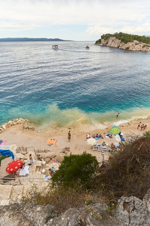 Beautiful beach and coast on Makarska in Croatia. 新聞圖片
