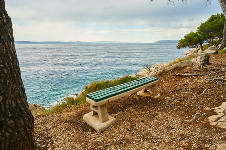 Bench near Adriatic sea. 版權商用圖片