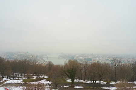 Cityscape of Budapest in winter season. 版權商用圖片