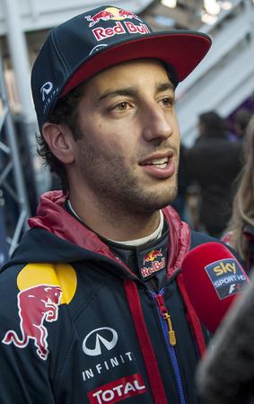 formula one: Driver Dani Ricciardo Formula One Test Days of 2015 pre-season at Circuit de Barcelona-Catalunya. Montmelo, Spain. Editorial