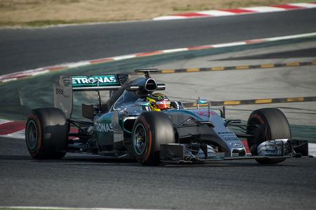 formula one: Driver Pahlmer Formula One Test Days of 2015 pre-season at Circuit de Barcelona-Catalunya. Montmelo, Spain. Editorial