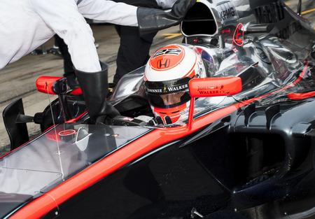 formula one: Driver Jenson Button Formula One Test Days of 2015 pre-season at Circuit de Barcelona-Catalunya. Montmelo, Spain. Editorial
