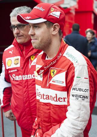 vettel: Driver Sebastian Vettel Formula One Test Days of 2015 pre-season at Circuit de Barcelona-Catalunya. Montmelo, Spain.