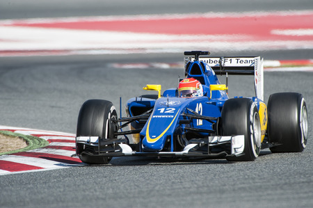 sauber: Driver Felipe Nasr. Team Sauber. Formula One Test Days of 2015 pre-season at Circuit de Barcelona-Catalunya. Montmelo, Spain. Editorial