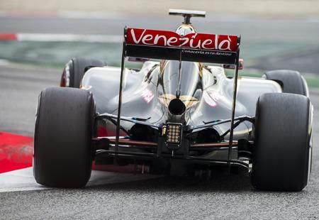 team lotus: Driver Romain Grosjean. Team Lotus. Formula One Test Days of pre-season 2015 at Circuit de Barcelona-Catalunya. Montmelo, Spain.