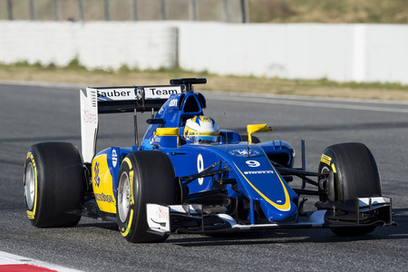 ericsson: Driver Marcus Ericsson. Team Sauber. Formula One Test Days of pre-season 2015 at Circuit de Barcelona-Catalunya. Montmelo, Spain. Editorial