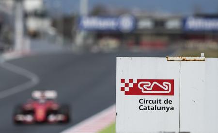 vettel: Driver Sebastian Vettel. Team Ferrari. Formula One Test Days of pre-season 2015 at Circuit de Barcelona-Catalunya. Montmelo, Spain.