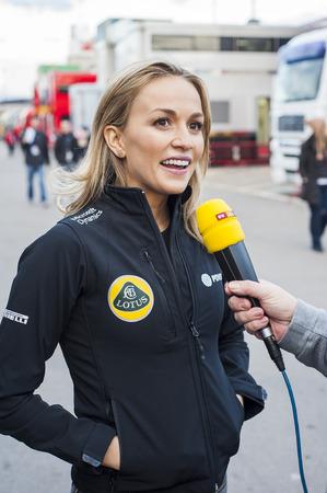 team lotus: Driver Carmen Jorda. Team Lotus. Formula One Test Days of pre-season 2015 at Circuit de Barcelona-Catalunya. Montmelo, Spain.