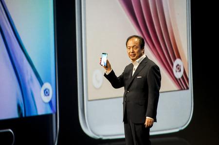 samsung galaxy: Samsung Galaxy S6 presentation at Mobile World Congress 2015. March 2-5 2015, Barcelona, Spain