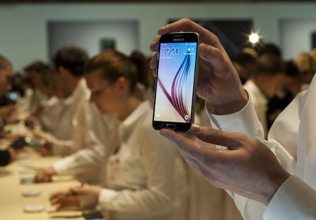 samsung galaxy: Samsung Galaxy S6 at Mobile World Congress 2015. March 2-5 2015, Barcelona, Spain