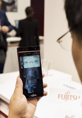 Fujitsu Eyes recogniser at Mobile World Congress 2015. March 2-5 2015, Barcelona, Spain