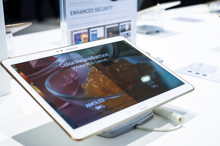 samsung: Samsung Galaxy Tab at Mobile World Congress 2015. March 2-5 2015, Barcelona, Spain Editorial