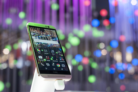 htc: HTC One M9 at Mobile World Congress 2015. March 2-5 2015, Barcelona, Spain