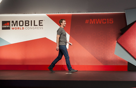 mark zuckerberg: Mark Zuckerberg keynote at Mobile World Congress 2015. March 2-5 2015, Barcelona, Spain