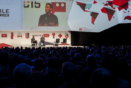 keynote: Mark Zuckerberg de apertura en el Congreso Mundial M�vil 2015. 2 hasta 5 marzo, 2015, Barcelona, ??Espa�a Editorial