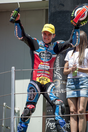 cev: Rider Aron Canet during FIM CEV Repsol European Championship that celebrates on June 2021 2015 at Circuit de Barcelona Catalunya in Barcelona Spain Editorial