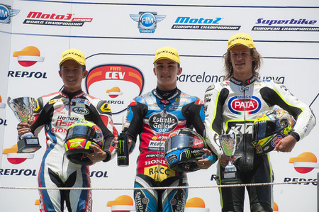 cev: Podium of Moto 3 at FIM CEV Repsol European Championship that celebrates on June 2021 2015 at Circuit de Barcelona Catalunya in Barcelona Spain
