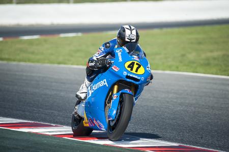 cev: Rider during FIM CEV Repsol European Championship that celebrates on June 2021 2015 at Circuit de Barcelona Catalunya in Barcelona Spain Editorial